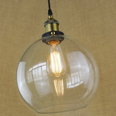 Ball Pendant Hanging Lamp Industrial Concise Clear Glass 1 Light Pendant Light in Brass for Coffee Shop