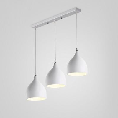Industrial Style Triple Light Multi-light Pendant with Aluminum Shade