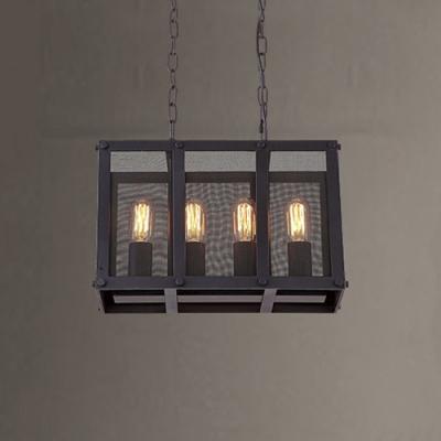 16'' Wide Rectangle Shape 4 Light Chandelier Pendant with Metal Mesh