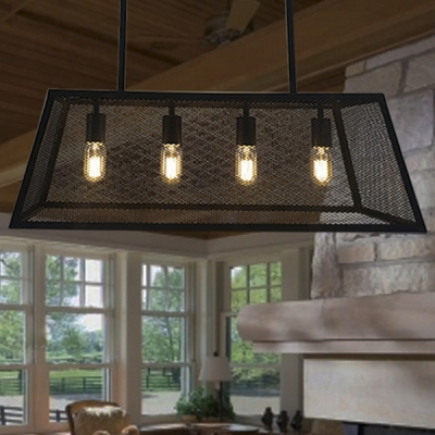 Industrial Style 31''W Linear Chandelier with Metal Mesh