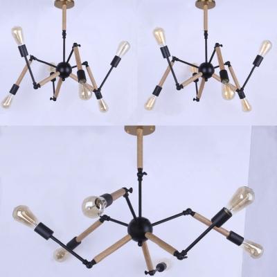 Atomic 6 Light Adjustable Chandelier in Wood Style