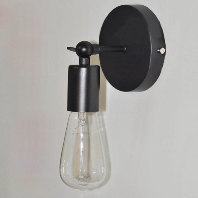 the best attitude 7669a 8683a Vintage Single Light Bulb Style Wall Sconce in Black