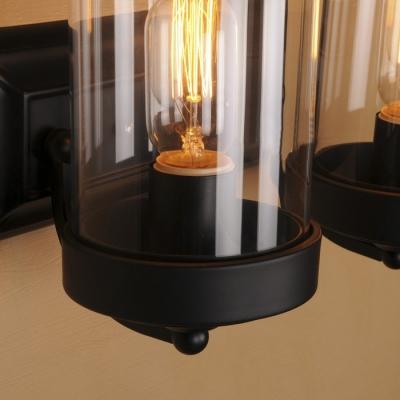 2 Light Double Sconces Black Industrial Lodge Front Door Wall Light