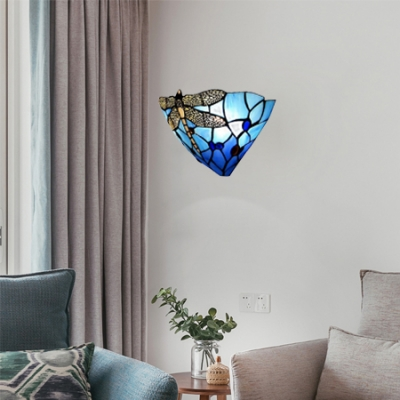 Dragonfly Pattern Tiffany One Light Wall Sconce 12 Inches Width Shade