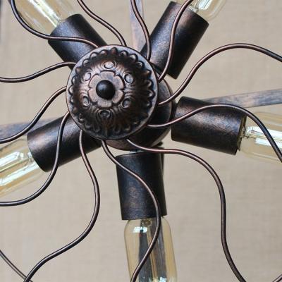 Retro Wrought Iron 5-Light Full Sized Floor Lamp in Antique Copper