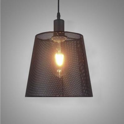 Simple Metal Mesh Shade 1 Lt Hanging Light in Black