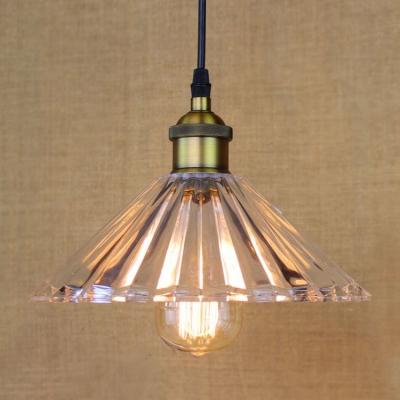 Single Light Industrial Crystal Glass Shade Bedroom Lighting Vintage Pendant