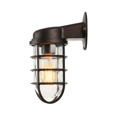 Rustic One Light Metal Hallway Sconce Antique Bronze 3 74