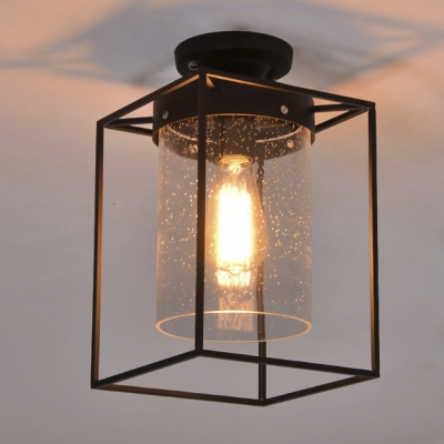 Seedy Gl Shade Ceiling Fixture Metal Wire Cage Semi Flush Light