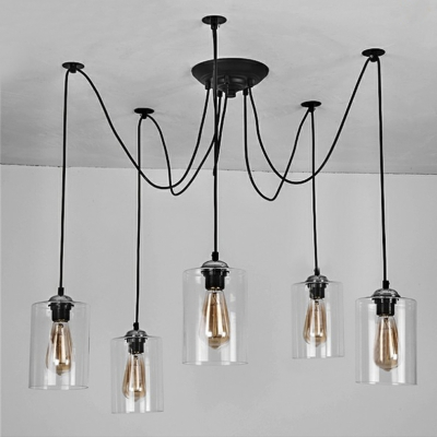 5 light swag pendant indoor ceiling fixture with clear