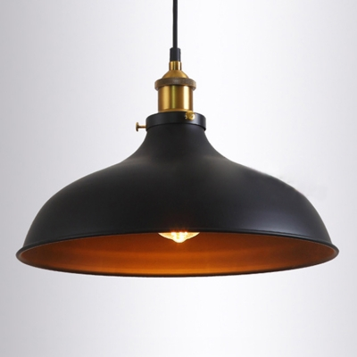 Industrial Single Light Foyer Metal Pendant In Black