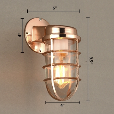 Copper Metal Cage Wall Sconces Nautical Style 1 Light Wall Lamp for Hallway Foyer Warhouse
