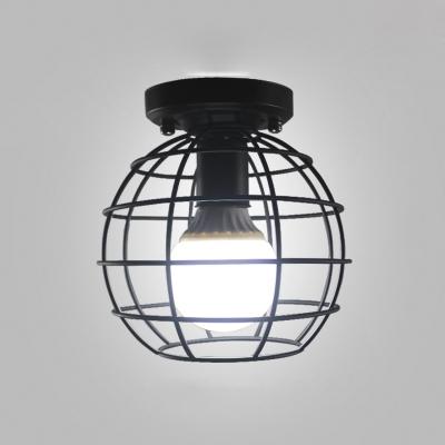 Industrial Globe Cage Style One Light Semi-Flushmount Light