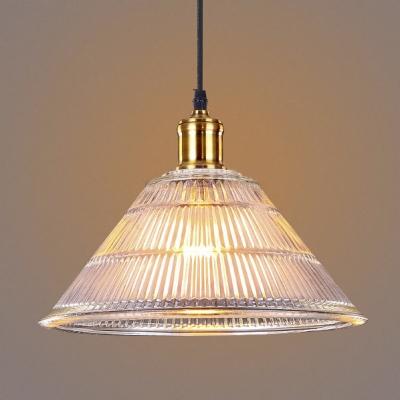 Vintage Ribbed Glass Shade Industrial Restaurant Pendant Light in Brass