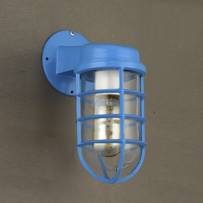 1 Light Industrial Lodge Blue Finish Metal Outdoor Wall Light