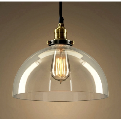 Semi-Circle Pendant Lamp with Glass Shade Industrial Single Head Ceiling Fixture in Brass