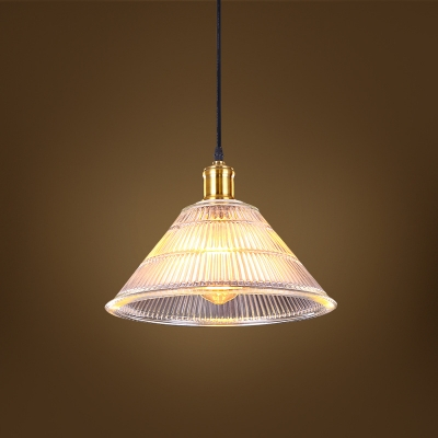 Vintage Ribbed Glass Shade Industrial Restaurant Pendant Light in Brass