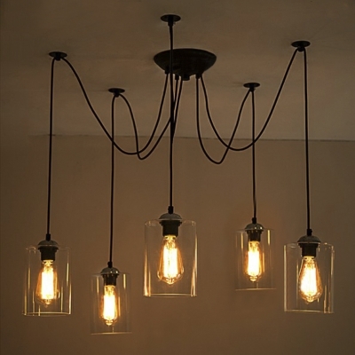 5 Light Swag Pendant Indoor Ceiling Fixture with Clear Glass Shade ...