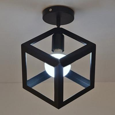 Mini cube shape semi flush ceiling light in cage style mini cube shape semi flush ceiling light in cage style aloadofball Choice Image