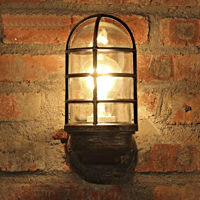 Rust Finish Industrial Metal Sconce with Wire Guard Nautical Style Single Light Wall Light