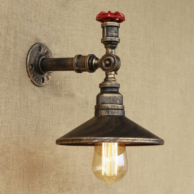 Retro Loft Valve Accent Saucer Shade Iron Pipe Wall Sconce In 9 84 Inches High