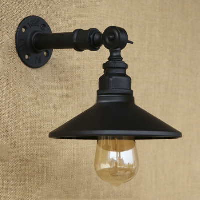 Industrial Black Finish Metal Shade One Light Wall Sconce for Hallway