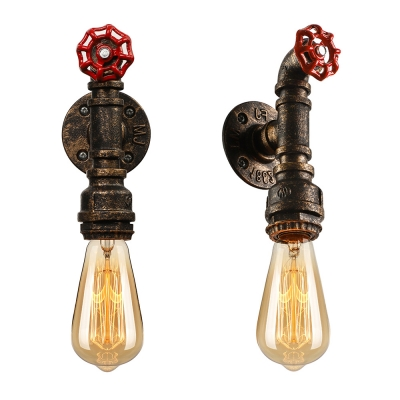 Retro Pipe Designed Industrial 1-Lt Bare Bulb Style Wall Sconce