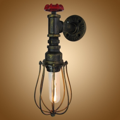 one light industrial antique bronze wall sconce rustic novel decorative lighting with wire cage