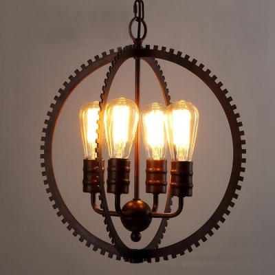 Industrial vintage style 4 light chandelier with gear shape in black industrial vintage style 4 light chandelier with gear shape in black finish aloadofball Choice Image