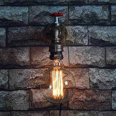 Single Light Bare Bulb Style Tap Shaped Sconce Industrial Rustic Indoor Lighting Fixture