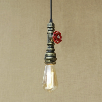 One Light Retro Pipe Pendant Light Industrial Metal Hanging Lamp