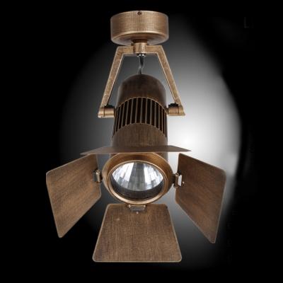 Industrial Style Single Light Semi Flush Indoor Lighting in Bronze Finish