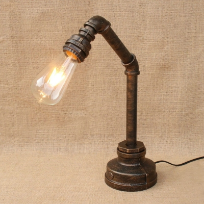 Modern Lighting Industrial One Light Metal Pipe Aged Bronze Desk Lamp ...
