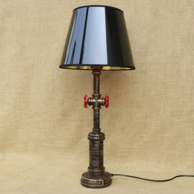 Rustic Lodge Antique Bronze Pipe Pole Table Light Bedside Desk Lamp With  Black Metal Shade ...