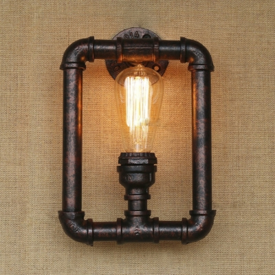 Vintage Rust Pipe Style Industrial Indoor Wall Sconces with 1 Light ...
