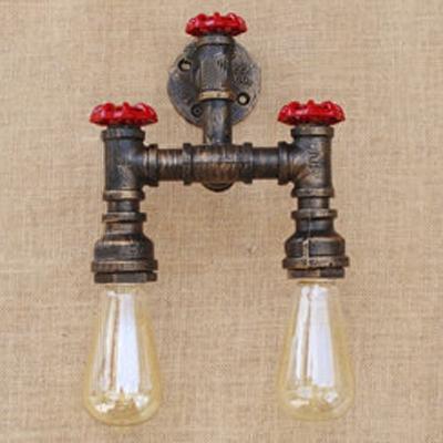2 Light Industrial Valve Accent Wall Light in Antique Bronze