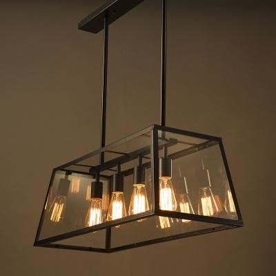 Rustic Lodge Industrial Glass Shade Metal Island Light in Black