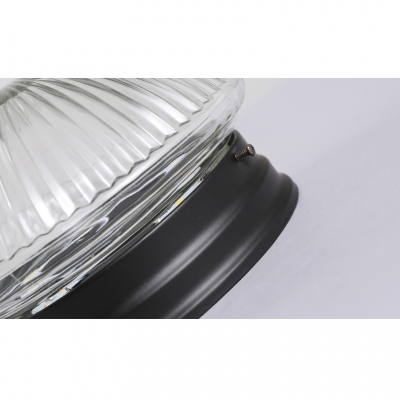 1-Light Industrial Ribbed Glass Shade LED Flush Mount Ceiling Light