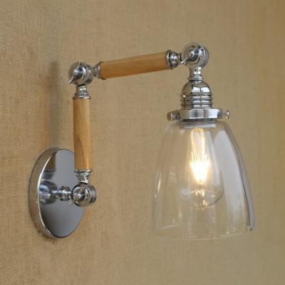 Chrome Finish Wood Industrial Arm Adjustable Wall Sconce ...