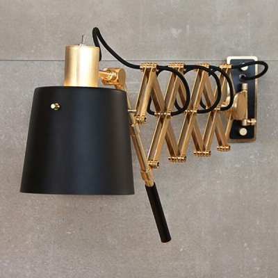 Retro Style Black Finish Gold Scissor Extendable Wall Lamp with ...