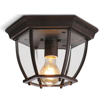 Rustic Vintage One Light Flush Mount Ceiling Fixture In Rust