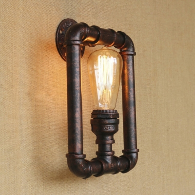 Vintage Rust Pipe Style Industrial Indoor Wall Sconces with 1 ...