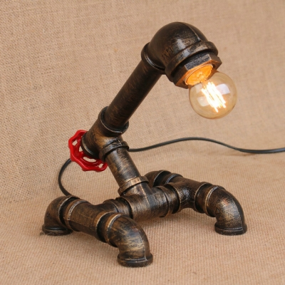 Industrial Wrought Iron Pipe Table Light Decorative Bronze Single Light Desk Lamp