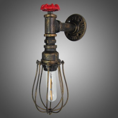 One Light Industrial Antique Bronze Wall Sconce Rustic Novel Decorative Lighting with Wire Cage ...