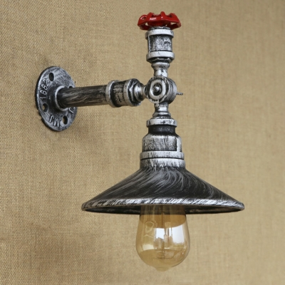 1-Light Metal Saucer Shaped Shade Industrial Wall Sconces in Weathered Silver