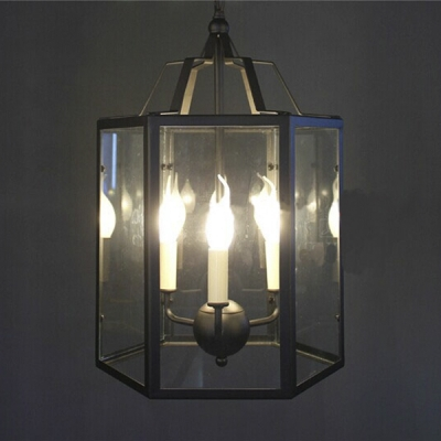 Full Sized Industrial 3-Light Chain Hanging Pendant Chandelier in ...