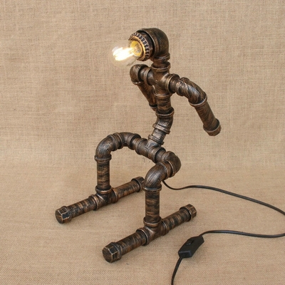 Iron pipe skiing doll shaped decorative table lamp of rustic iron pipe skiing doll shaped decorative table lamp of rustic industrial style aloadofball Image collections