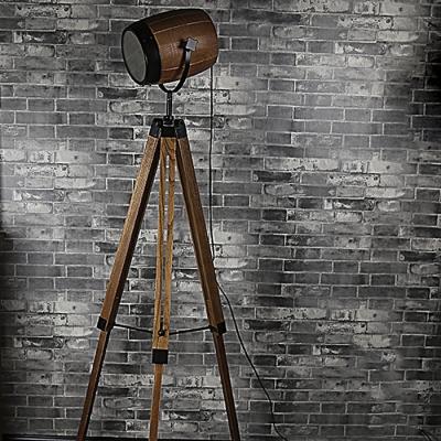 Retro Style 1 Light Adjustable Tripod Indoor Lighting Floor Lamp with Brown Shade