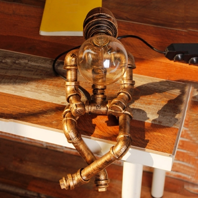 Novel Pipe Lighting Fixture Sitting Doll Shaped Industrial Table Light in Old Bronze Finish