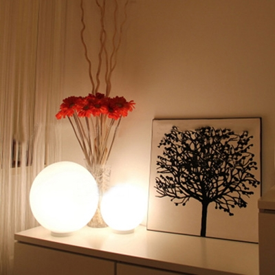 ... Modern White Glass Ball Table Lamp ...